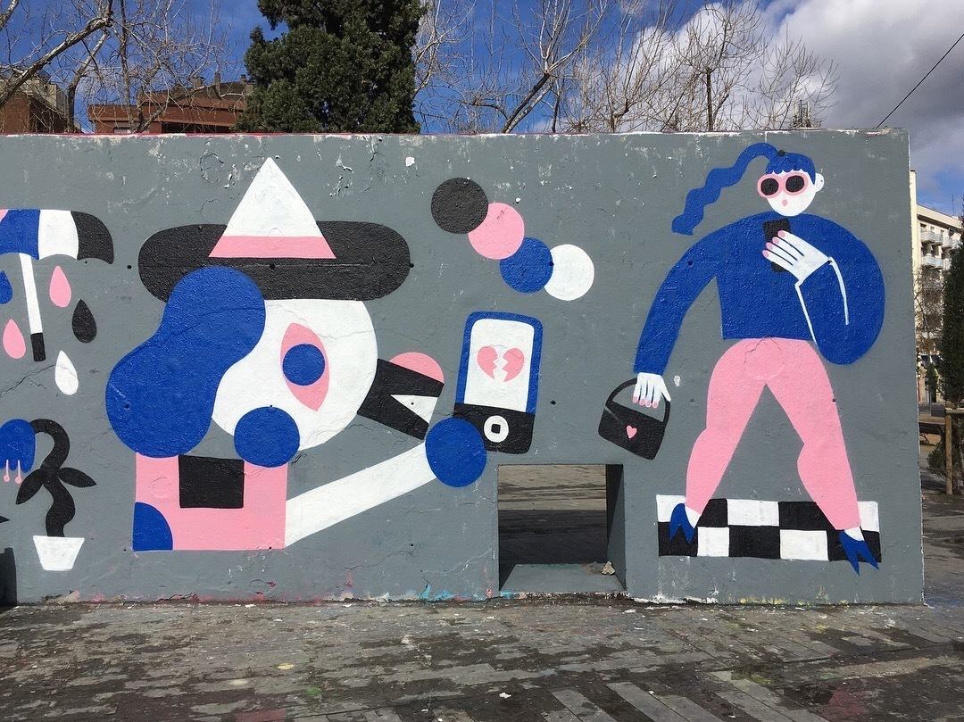 Wallspot - EmilyE - Smartphone Love Story with NinjaXpert & EmilyE - Barcelona - Tres Xemeneies - Graffity - Legal Walls - Illustration
