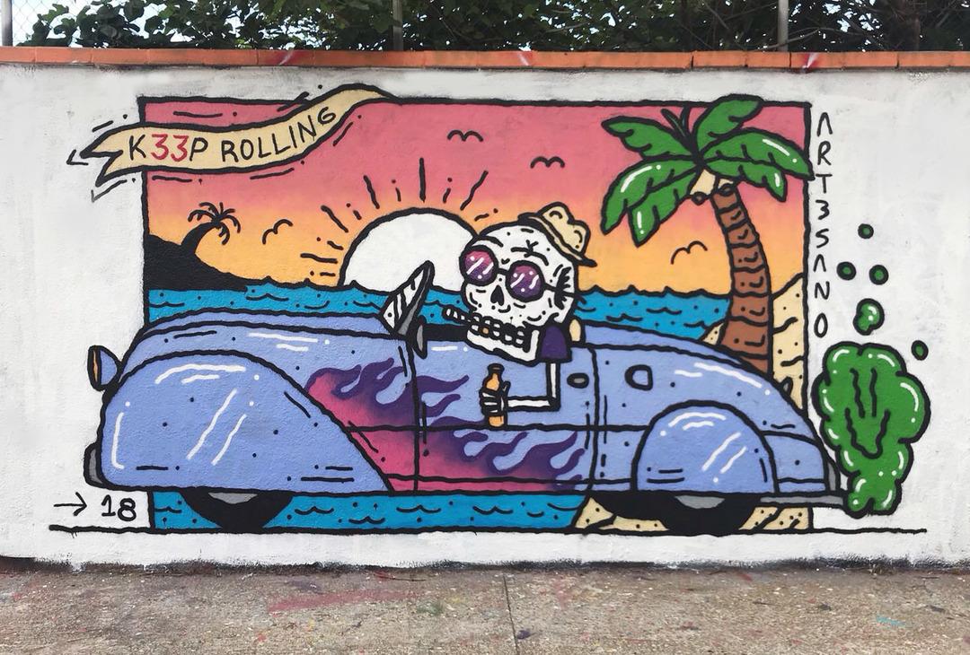 Wallspot - art3sano - K33P ROLLING - Barcelona - Agricultura - Graffity - Legal Walls - Letters, Illustration