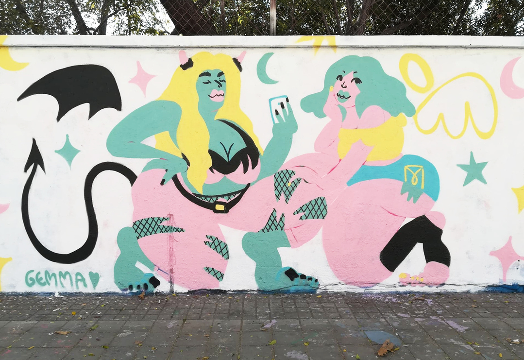 Wallspot - gemfontanals - A Veces Ángel A Veces Demonio - Barcelona - Agricultura - Graffity - Legal Walls - Illustration