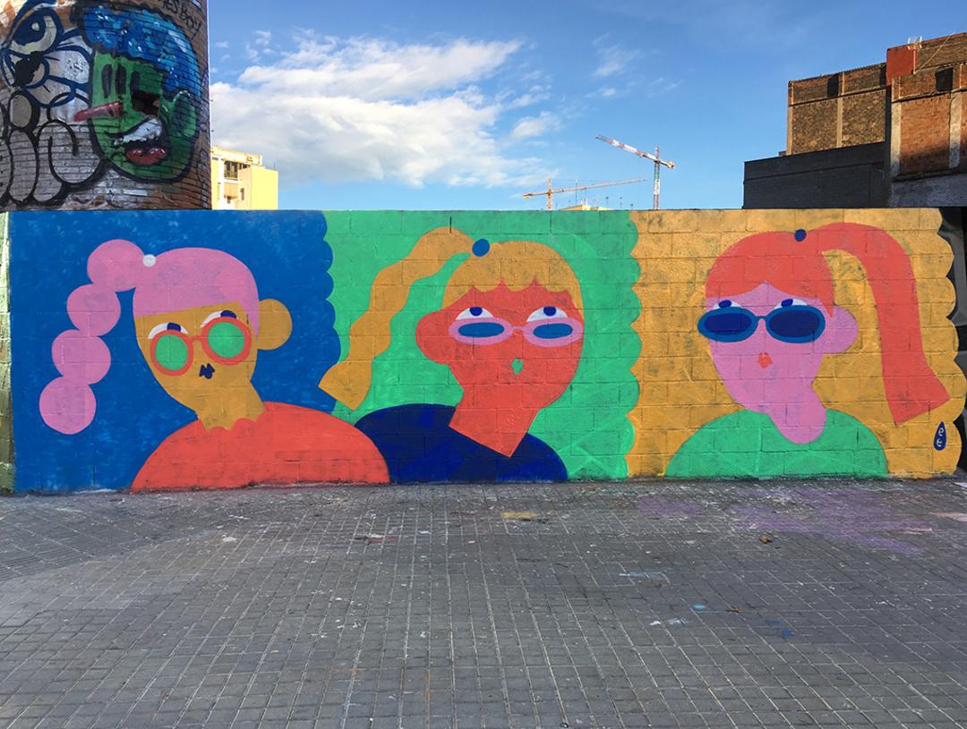 Wallspot - EmilyE - Tres Chicas - Barcelona - Poble Nou - Graffity - Legal Walls - Illustration