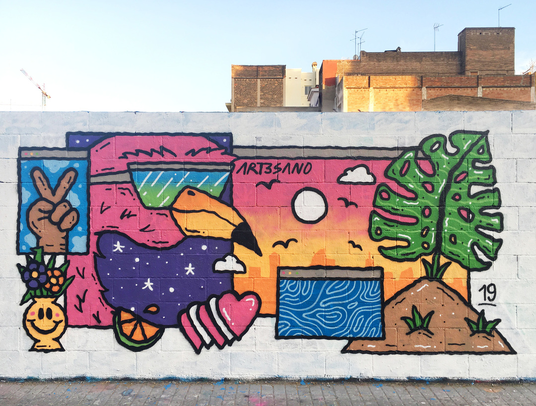 Wallspot - art3sano - Poble Nou - 2019 - Barcelona - Poble Nou - Graffity - Legal Walls - Illustration