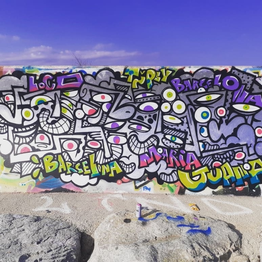 Wallspot - madcinsart - Forum beach - Barcelona - Forum beach - Graffity - Legal Walls - Letras, Stencil, Otros