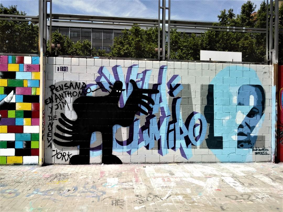 Wallspot - 3+3 - Drassanes - 'Pensando en Anthony y Jim de Nueva-York' - Barcelona - Drassanes - Graffity - Legal Walls -
