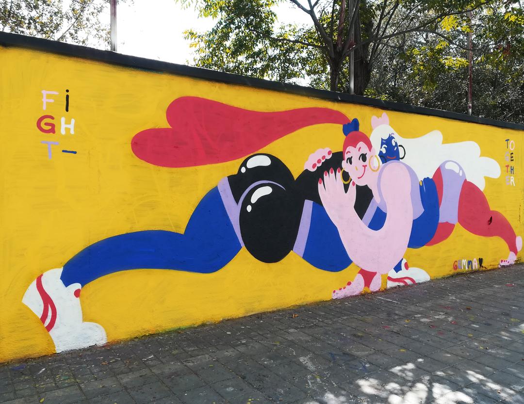 Wallspot - gemfontanals - Fight Together - Barcelona - Agricultura - Graffity - Legal Walls - Illustration