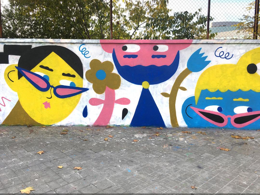Wallspot - EmilyE - Jungle Gym - Barcelona - Agricultura - Graffity - Legal Walls - Illustration