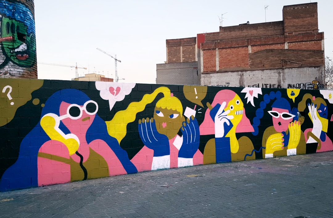 Wallspot - EmilyE - Girl Talk - Barcelona - Selva de Mar - Graffity - Legal Walls - Illustration
