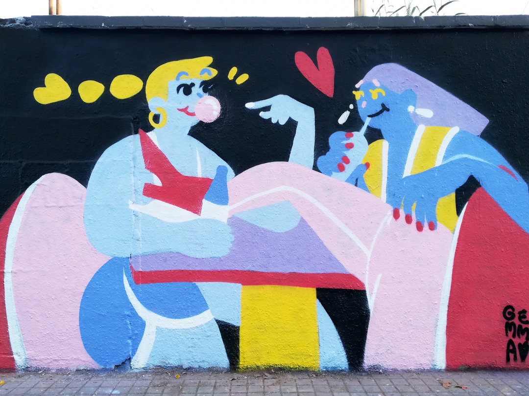 Wallspot - gemfontanals - Diner date - Barcelona - Agricultura - Graffity - Legal Walls - Illustration