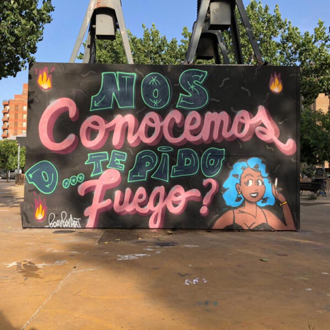 Wallspot - BDAY BOY ART - Nos conocemos o te pido fuego? 0001 - Barcelona - Tres Xemeneies - Graffity - Legal Walls - Letters, Illustration