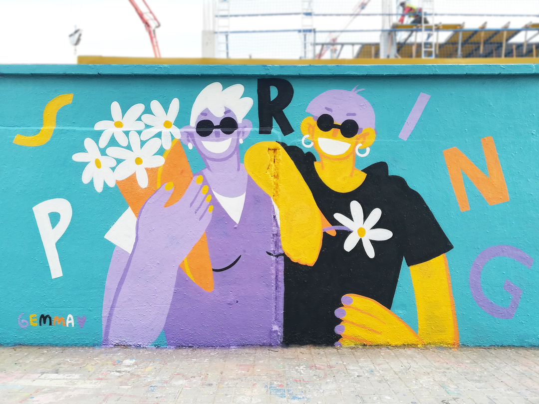 Wallspot - gemfontanals - Primavera (Flores para mis tías) - Barcelona - Agricultura - Graffity - Legal Walls - Illustration