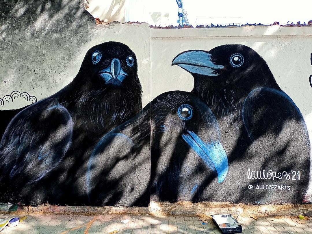 Wallspot - Lau López - Cría cuervas - Barcelona - Agricultura - Graffity - Legal Walls - Illustration