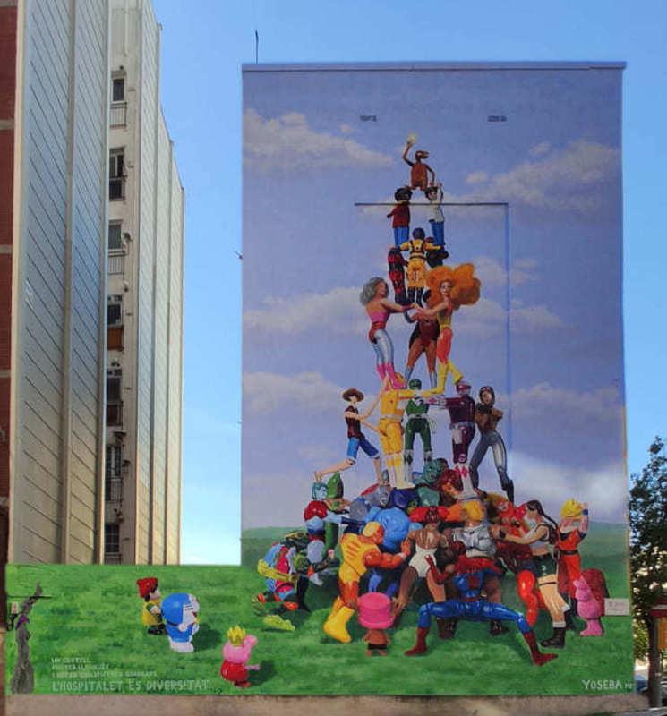 Wallspot Post - Yoseba MP ha realitzat un mural de grans dimensions a l'Hospitalet