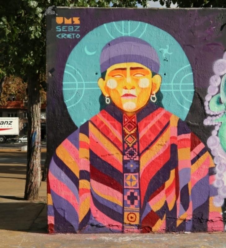 Wallspot - Creto - M A P U C H E - Barcelona - Tres Xemeneies - Graffity - Legal Walls - Il·lustració
