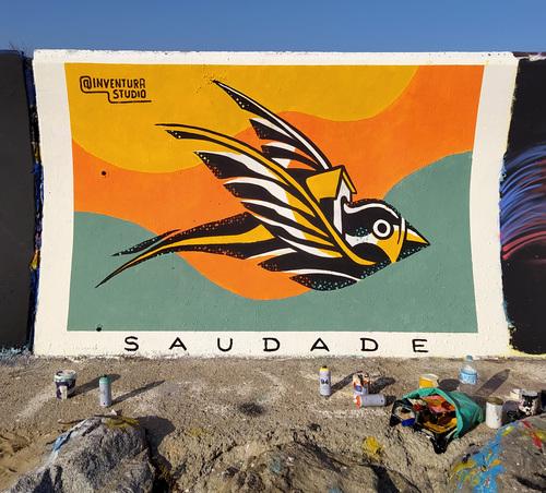 Wallspot - Inventura Studio - Saudade - Barcelona - Forum beach - Graffity - Legal Walls - Illustration, Stencil, Others