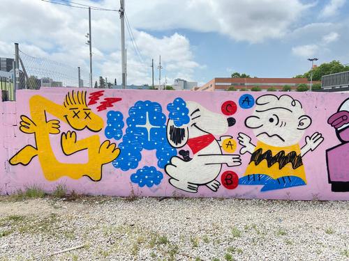 Wallspot - gasp - snoopy textures research✨ - Barcelona - Parc de la Bederrida - Graffity - Legal Walls - Letters, Illustration